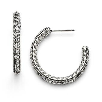 Stainless Steel Polished Cubic Zirconia Post Hoop Earrings
