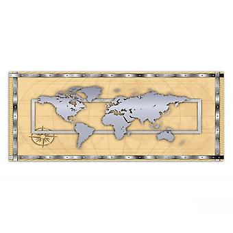 Canvas, Picture on canvas, World Map, silver
