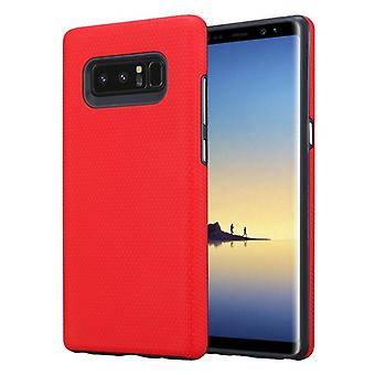 Cadorabo Case for Samsung Galaxy NOTE 8 in NELKEN RED – Outdoor Phone Case with Extra Grip Anti Slip Surface in Triangle Design made of Silicone and Plastic - Protective Case Hybrid Hardcase Back Case