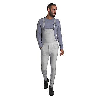 Trafford mens off-white super skinny fit biker overalls