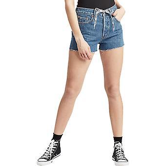 Levi-apos;s 501 Logo High Waisted Denim Shorts Blue 99