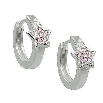 Creole 12x2mm hinged flip top star with Zircons pink Silver 925
