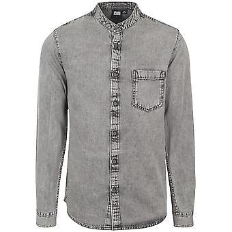 Urban classics Męska koszula z długim rękawem kołnierz niska denim