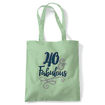 40 og fabelaktig tote | Happy Birthday feiring Party får eldre | Gjenbrukbare shopping Cotton Canvas Long håndtert Natural shopper miljøvennlig mote