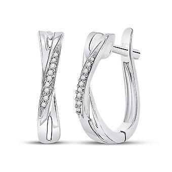 Diamond Crossover Hoop Earrings 1/20 Carat (ctw) in 10K White Gold