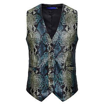Alle Themen Men's V-Ausschnitt Vier-Knopf-Schnalle Fishscale Weste Anzug