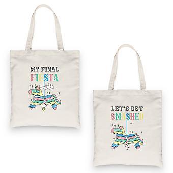 Final Fiesta Smashed Pinata BFF Matching Canvas Bags Natural Bright