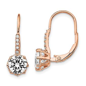 925 Sterling Silver Leverback CZ Cubic Zirconia Simulated Diamond Rose 14k Gold Plated Long Drop Dangle Earrings Jewelry