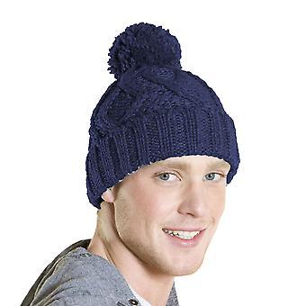 チャンピオンメンズユニセックスチャンキーケーブルニットボブルビーニー暖かい冬の帽子