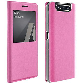 Smart view window flip case for Samsung Galaxy A80, slim cover - Pink