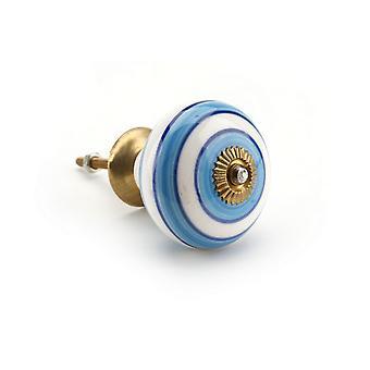 CGB gaveartikler lys blå/hvit Ring keramiske skuff håndtak