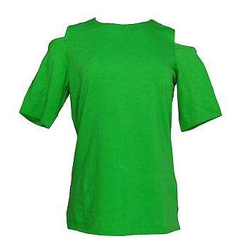 Belle by Kim Gravel Womens Top Triple Luxe Elbow Sleeve Green A301607 PTC