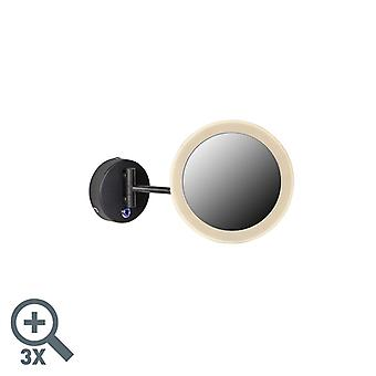 QAZQA Espejo de pared de maquillaje redondo negro incl. LED IP44 - Barba