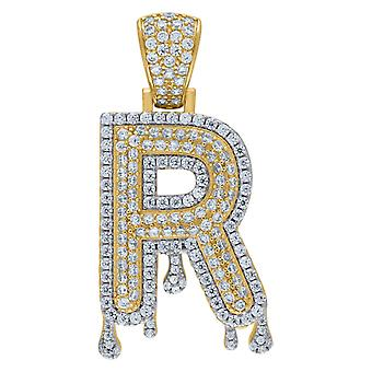 925 Sterling Silver Yellow tone Mens Vrouwen CZ Dripping Letter Name Gepersonaliseerde Monogram Initial R Charm Hanger Necklac