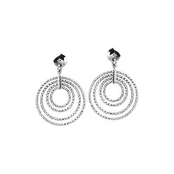 925 Sterling Silver Rhodium Plated 4 Dangle Circle Post Earrings Jewelry Gifts for Women - 3.8 Grams