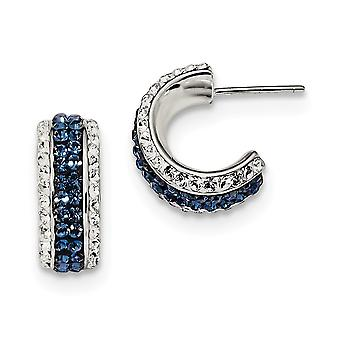 6.5mm 925 Sterling Silver White Blue Crystal and Resin Hoop Earringss Jewelry Gifts for Women