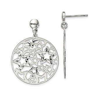 925 sterlinghopea harjattu tähti pitkä pudota dangle korvakorut korut lahjat naisille - 3,4 grammaa