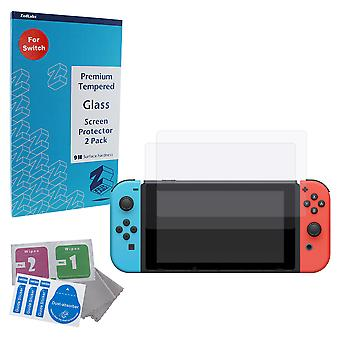 Glass screen protector kit for nintendo switch premium easy install 9h tempered anti scratch protection  - 2 pack | zedlabz