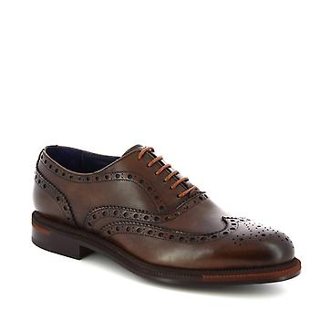 Leonardo Shoes Men's handmade lace-ups brogues shoes dark brown calf leather