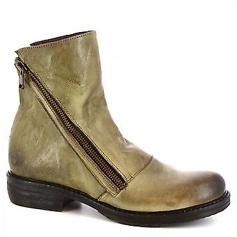 Leonardo Shoes Women's handmade ankle boots in green tan calf leather with zip