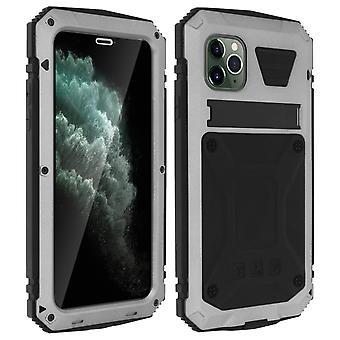 Aluminium Silikon Kickstand Fall für iPhone 11 Pro - Tank-Serie, Silber