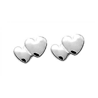 Boucles d'oreilles Coeurs Doubl�s en Argent
