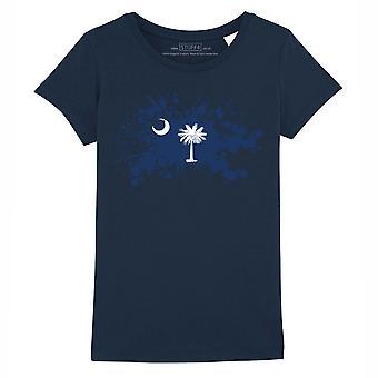 STUFF4 Girl's Round Neck T-Shirt/State/South Carolina Flag Splat/Navy Blue