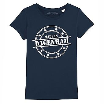 STUFF4 Girl's Round Neck T-Shirt/Made In Dagenham/Navy Blue