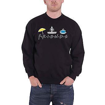 Amigos sudadera camiseta TV Show Iconos Central Perk Logo nuevo oficial Hombres Negro