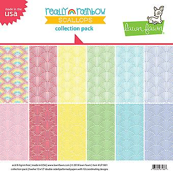 Lawn Fawn Really Rainbow Scallops 12x12 Inch Collection Pack