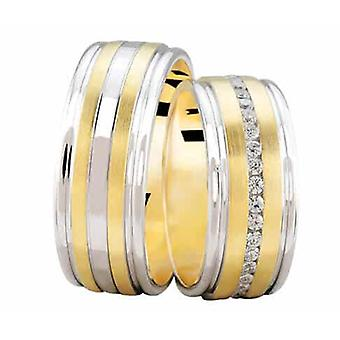 Bicolor wedding rings with 0.37 ct. diamonds