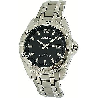 Accurist Gents Black Dial Calendar Bracelet Strap Watch MB840B