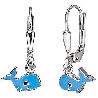 Children earrings whale 925 Sterling Silver Blue Blue earrings, kids earrings