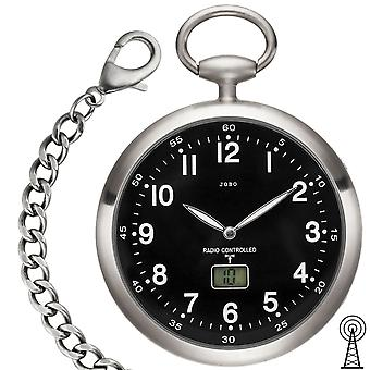 JOBO pocket watch radio with chain black stainless steel with date