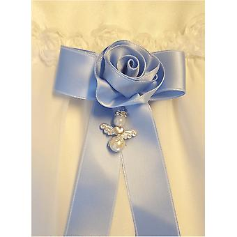 Baptism Bow With Handmade Rose And Guardian Angel
