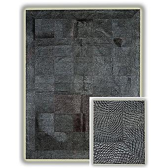 Rugs -Patchwork Leather Cubed Crocodile with Border - Grey/Black
