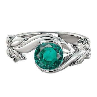 Emerald 1.00 CT Ring 14K White Gold Flower Leaves Leaf