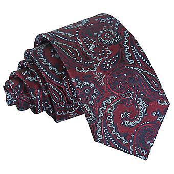 Burgund & Navy Royal Paisley Slim Krawatte