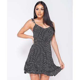 Polka Dot Tiered Him Strappy Mini Dress - Ladies -Black
