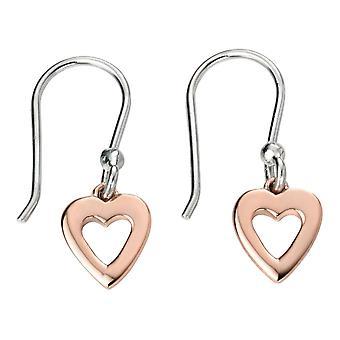 Elementos pendientes de corazón de plata - rosa oro/plata