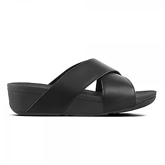 FitFlop Lulu Ladies Leather Slide Sandals Black