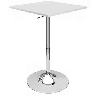 "Set of 4 Modern Home Zeta Contemporary Adjustable Height 24"" Bar Table - Polished Chrome Steel Base Adjusting Belly Table - Adjusts from 28"" to 36"" Tall (White)"