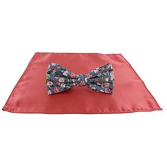 Michelsons de Londres Contast Floral laço e bolso liso quadrado conjunto - Coral