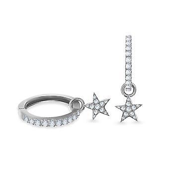 Earrings Hoops Diamond Star 18K Gold and Diamonds - White Gold