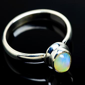 Natural Ethiopian Opal Ring Size 9 (925 Sterling Silver)  - Handmade Boho Vintage Jewelry RING8000
