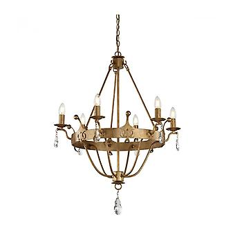 Windsor Hanglamp Licht, Gouden Patina Finish, Crystal, 6 Lichten