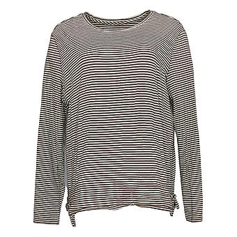 AnyBody Women's Cozy Knit Striped Top w/Drawcord Hem Taupe Beige A349787