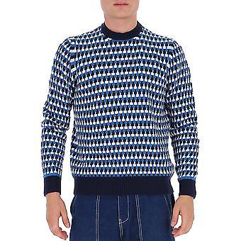 Prada Umb0941a8wf0ge8 Männer's blaue Wolle Pullover