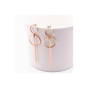 Rose Gold Double Hoop Circle Earrings With Drop Pendants