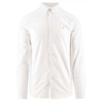 Farah White Brewer Slim Long Sleeved Oxford Shirt